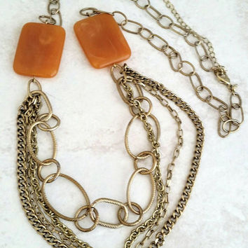 Vintage AVON Gold Tone Amber Lucite Swag Necklace  - Retro Boho Chic / Art Deco / Statement / Stylish / Classy