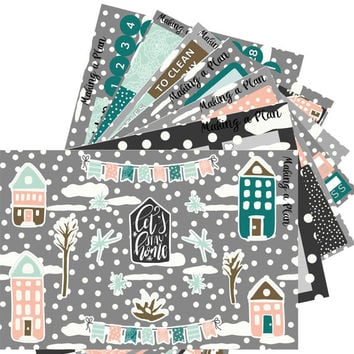Winter Towne Condren Vertical Kit Planner Stickers for use with ERIN CONDREN LIFEPLANNER