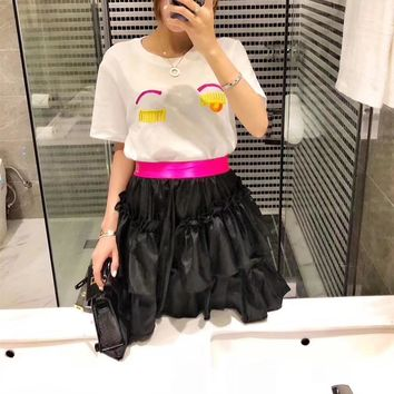 """Balenciaga"" Women Temperament Fashion Short Sleeve Embroidery Eye T-shirt Multicolor Letter Puff Skirt Set Two-Piece"