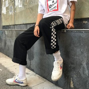 Unisex Loose Checkered Skater Pants