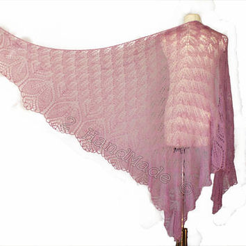 Lace Knit Triangular Purple Pink Shawl Wrap Mohair Wool Fall Boho Handmade Wedding Scarf Fashion Woman Lady Collar Casual Infinite