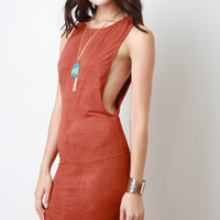 Suede Scooped Sides Midi Dress