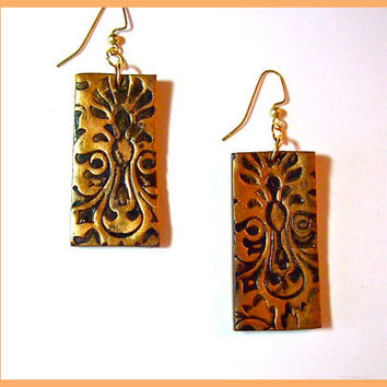 Earrings Gold Brocade Pattern Polymer Clay 2 in Dangle Handcrafted 14KT Gold Filled Earwires