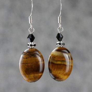 tiger eye beaded dangling earrings Bridesmaids gifts Free US Shipping handmade anni designs