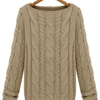 Khaki Round Neck Cable Knit Sweater