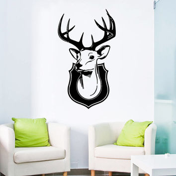 Wall Decal Vinyl Sticker Decals Art Home Decor Design Mural Elk Deer Horns Animal Head Hunting Kids Children Nursery Baby Bathroom AN93