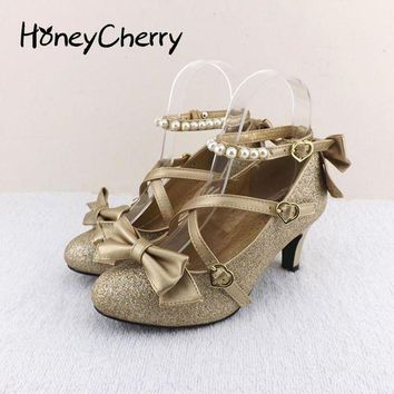 DCK7YE Plum small liner genuine leather cross-strap pumps Princess bow lolita shoes gold silv