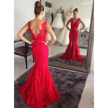 Front Slit Red Floor Length Prom Dresses