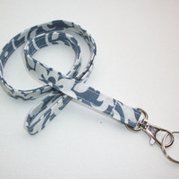 Lanyard / Key Leash ID Badge Holder - NEW THINNER design - Gray damask  - Lobster clasp and key ring