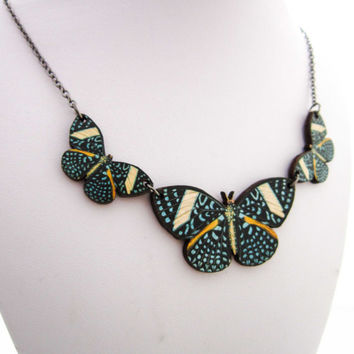 Butterfly Woodcut Necklace -  Blue & Orangle Wooden Wood Butterfly Pendant