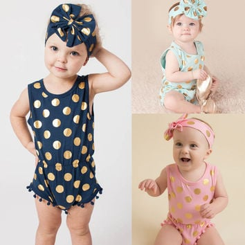 Headband Casual Romper Jumpsuit Baby Girl Clothes Gold Polka Dot Cotton Sleeveless Outfits Set Baby Girl 3 6 9 12 18 24 Monthes