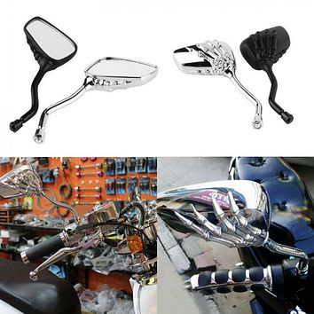 2pcs Universal Motorcycle Chrome SKELETON Skull HAND Claw Side Rear View Mirrors