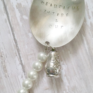 Spoon Pendant Necklace / Hand Stamped Jewelry / Faux Pearl Necklace / Russian Nesting Doll / Sterling Silver / Silverware Jewelry