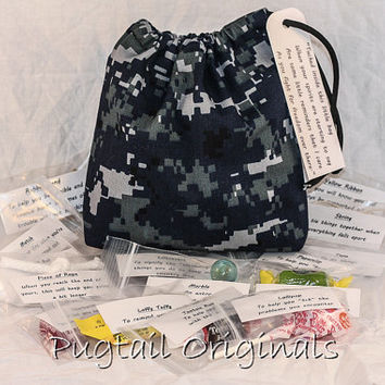 Military Deployment Survival Kit/Bag - Morale Booster - Blue Digital Camo - Army, Navy, Air Force, Marines, Coast Guard