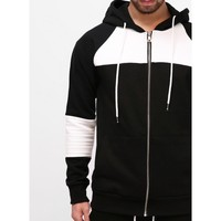 Mens XQUARE 23 Contrast White Pintuck Paneled Hoodie at Fabrixquare