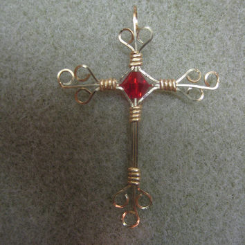 Cross, Pendant, Wire Wrapped with 14K gold filled wire, swarovski crystal bead, watercolorsnmore