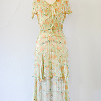 vintage 1930s pale green floral tiered chiffon dress [Waltzing in the Green Dress] - $218.00 : Vintage & Vintage Inspired Clothing, Adored Vintage, Portland Oregon