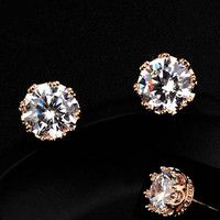 Diamond Crown Trimmed Rhinestone Earrings