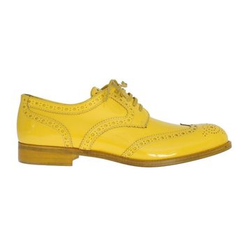 Dolce & Gabbana Yellow Leather Oxford Broques Flats Shoes