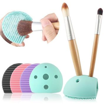 LMFUS4 New Cleaning Washing Silicone Cleanser Cleaner Pad Mat Glove Finger With Hole Tools Brush Egg Scrubber Makeup Cosmetic Hot