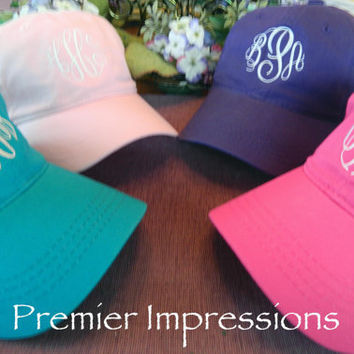 Hats, Monogramed Baseball Caps. 25 COLOR HATS AVAILABLE with your Initials.  Great running cap or knock-around cap.
