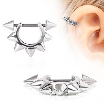 316L Surgical Steel Metal Spike Cartilage Cuff