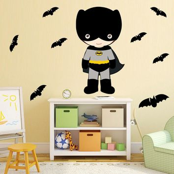 Batman Dark Knight gift Christmas Cute Baby Batman Wall Stickers Removable Superhero Bats Wall Decals For Kids Party Diy Batman Wallpaper Home Decor Free Shipping AT_71_6