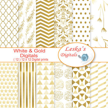 "Gold digital paper:""WHITE GOLD"" digital scrapbook papers Gold geometrics, stars, stripes, damask, triangles, polkadots, rose digital papers"