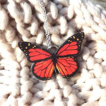 Monarch Butterfly necklace, Colorful orange, red butterfly necklace, Free Shipping Worldwide, Butterfly jewelry, Mothers day gift