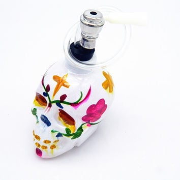 Hand-Painted Skull Head Hookah - Water Pipe - White
