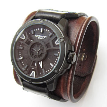 Black and Brown Watch cuff, Handmade Watch Strap