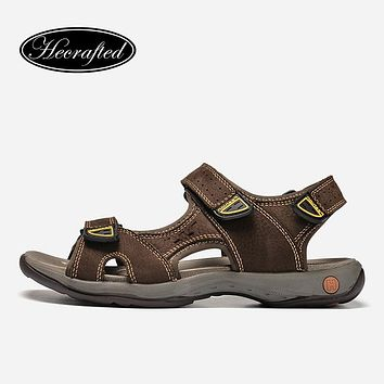 Men Sandals Full Grain Leather Fashion Handmade He Crafted Men Summer Shoes