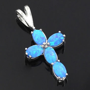 Blue Opal Cross Pendant Necklace
