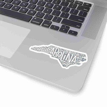 North Carolina State Shape Sticker Decal - Grey