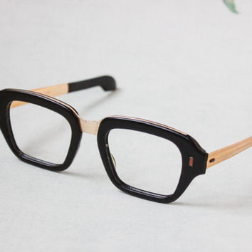 "1960's Soviet Glasses / Iconic USSR Black & ""Copper"" Reading Glasses Frames / Rectangular Unisex Retro Eyewear, Made in Ukraine, USSR"