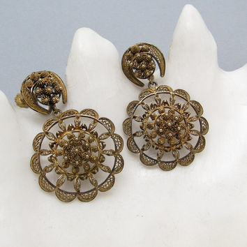 Long Filligree Earrings Gilt Silver Cannetille Vintage  Jewelry E7201