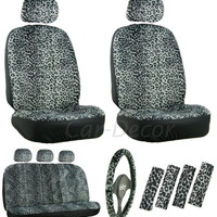 Leopard Gray Car Seat Cover 17 Pc Set