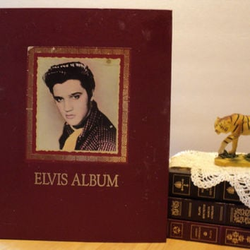 Elvis Presley Photo Album Coffee Table Book 1991 Picture Book with Newspaper Clippings Elvis' Life Scrapbook