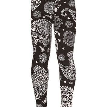 Girls Elephant Leggings Black White Paisley:  S/L