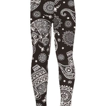 Girl's Elephant Printed Leggings Paisley Black:White: S/L