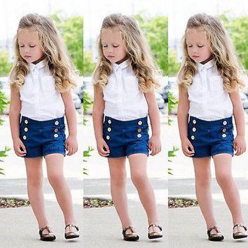 2Pcs Toddler Baby Girls Kids Dress T-shirt Tops+ Denim Pants Clothes Outfits Set baby girls clothing set