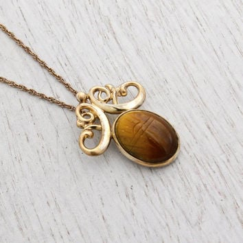 Vintage Tiger's Eye Scarab Necklace - 12K Yellow Gold Filled Semi Precious Stone Signed WRE Egyptian Revival Jewelry / Etched Beetle Bug