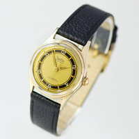Tomboy watch for women vintage ZentRa gold plated. Unisex watch black ring pattern face. Minimalist women watch gift. New leather strap