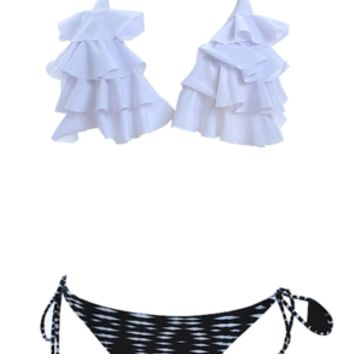 Fisher Ruffled Triangle Tassel Bikini - Zebra