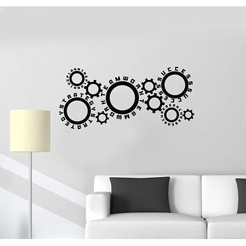 Vinyl Wall Decal Office Space Gears Teamwork Success Interior Art Stickers Mural (ig5824)