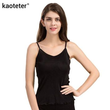 DKF4S 100% Pure Silk Women's Camisoles Female Thin Slim Halter Tanks Tops Femme Simple Sling Women Sexy Camis  Woman Knit Silk Ladies