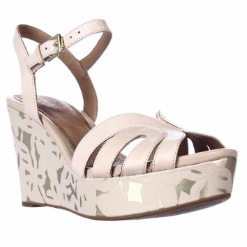 Clarks Amelia Page Wedge Platform Sandals - Nude