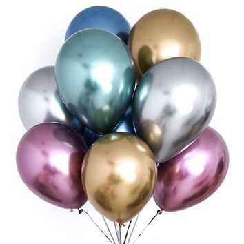 Chrome Balloons 50 pcs 12 Inch Gold Balloons Red Balloons Blue Metallic Balloons, Multicolor Shiny Balloons Party Balloons for Wedding, Birthday, Princess Ariel Party, Little Mermaid Party