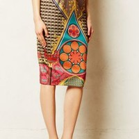 Rambutan Pencil Skirt by Pankaj & Nidhi Red Motif