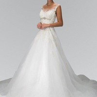 Affordable  A line Wedding dress w/ lace top gl1355